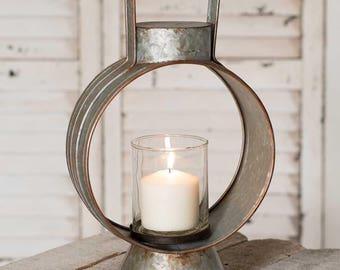 Large Workman's Lantern Candle Holder Galvanized Tin Farmhouse Decor