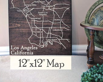 Los Angeles Map, Large Wood Map, Los Angeles City Map, Los Angeles Wall Art, LA Map, Gift, Personalized Map, Custom City Map by Novel Maps