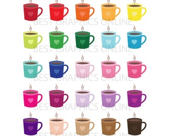 80% OFF SALE Coffee mugs clipart, Heart coffee cups clipart, Tea cup clipart, Coffee mug digital clipart coffee cup clipart illustration AL4