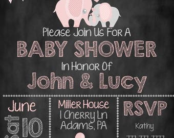 Pink and Grey Elephant Baby Shower, Elephant Baby Shower Invite
