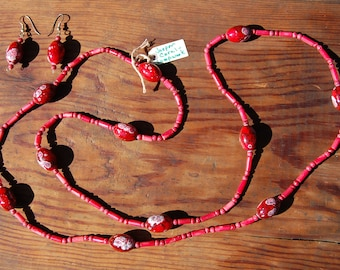 Red Coral with Jade and Lampwork Glass Necklace with Earrings