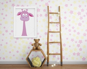 Giraffe • sea monster • printable • JPG • kids room • decoration • rose • cute • wall art design • print • digital file • babyshower • sweet