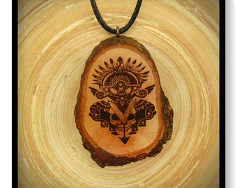 "Soul slices ""Maori, Polynesian, Tiki 4"" wood necklace, vintage * Ethno * hippie * MUST have * statement *"