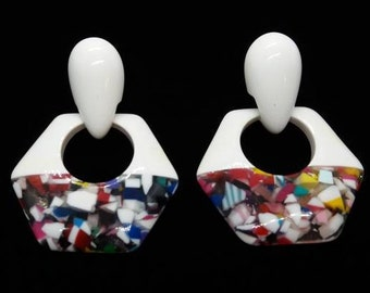 80's 90's Earrings White and Multi Color Plastic Earrings with Silver Tone Stud Back Dangle Earrings
