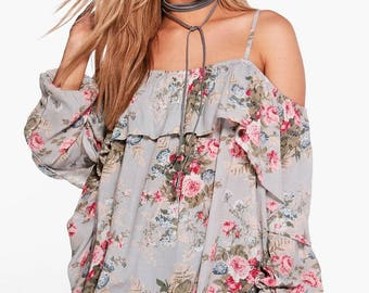 Floral Strap Detail Top - Floral Print Open Shoulder Top