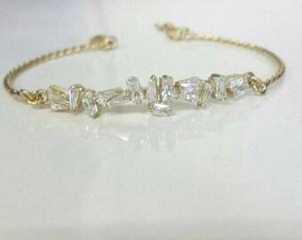 Antique Bracelet, Vintage Bracelet,  Baguette Bracelet, 14k Bracelet, Rose Gold White Gold Bracelet, Handmade Bracelet, Baguette Stone