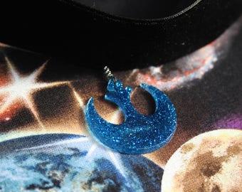 Blue Rebel Logo Velvet Choker