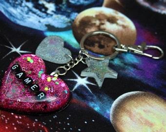 Pink Glitter Gamer Heart Resin Holo Key Chain