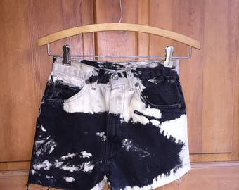 90s Vintage High Waist Black Denim Shorts