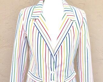 Vintage 1980s Rainbow Stonybrook Jacket/ Vintage Jacket/ Rainbow Jacket/ Vintage Blazer