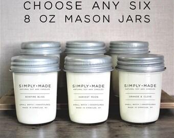 Soy Candles Bundle Deal // Choose Any Six // 8 oz Mason Jar Candles // Scented Candles // Modern Farmhouse Decor