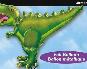 """Large Mylar Green Dinosaur Balloon /  Tyrannosaurus Rex / T. Rex 36"""" x 30"""""""