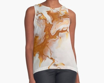 Original Art Print Contrast Tank Top Shirt - Gold Marble