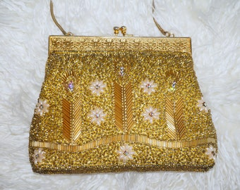 Gold Beaded Vintage Purse