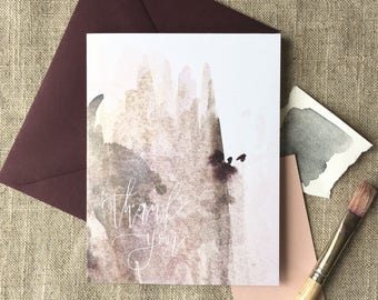 watercolour thank you card