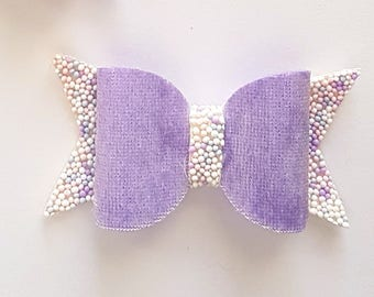 Purple crushed velvet bow/ girls bow / purple hair bow/ purple girls bow/ crushed velvet hair bow/ velvet bow/ hundreds and thousands bow