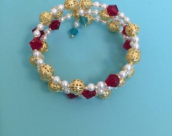 Beaded Wrap Bracelet / Memory Wire Bracelet / Pearl Bracelet / Crystal Bracelet /Statement Bracelet / Women's Bracelet / Gift For Her /