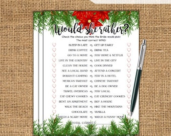 Would She Rather Christmas Bridal Shower Game - Christmas Printable Bridal Shower Game - Bachelorette Party Night - Hen Party Game XM77
