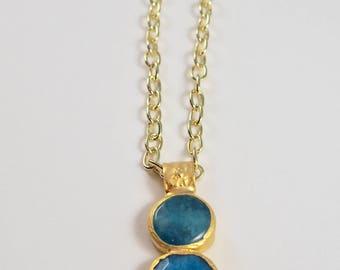 Turquoise Jade Pendant Necklace w/ Vintage Clasp