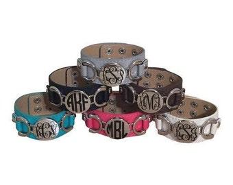 Monogrammed Leather Cuff Bracelet, Monogrammed Bracelet, Personalized Bracelet, Monogrammed Jewelry, Personalized Jewelry