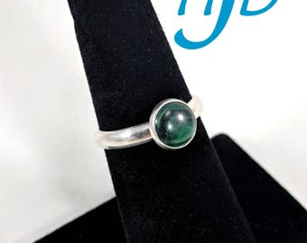 Round 8mm Malachite and Sterling Silver Ring - Size 6-1/2