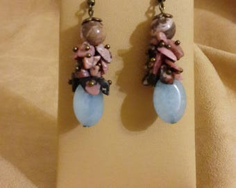 Earrings rhodonite, Aquamarine and Jasper