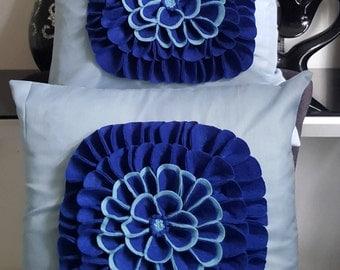 Designer, 3D Handmade Royal Blue Flower/Petal Decorative Cushion Cover