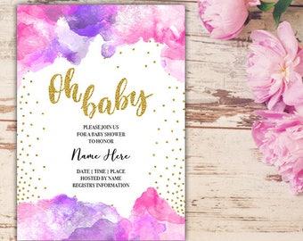 Oh Baby Shower Invitation, Watercolor Baby Shower Invitation, Gold Glitter Baby Shower Invitation, Custom 5x7 Printable Digital Invitation