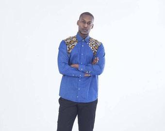 African Wax Print Long sleeve Shirt,African clothing,African mens shirt, African Mens Wear, African Wax Print, African Shop, African dashiki