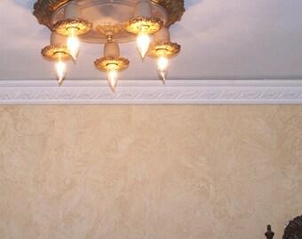 903 20's 30s  aRT NOUVEAU Ceiling Lamp Light Fixture POLYCHOME