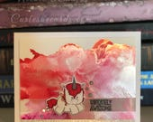 Uniquely Awesome Alcohol Ink Greeting Card with Unicorn