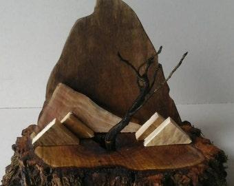 Rustic Wood Art - In The Mountains Fairy Garden Scene
