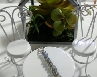 Blue Flash Labradorite Rondelle Vertical Bar Necklace