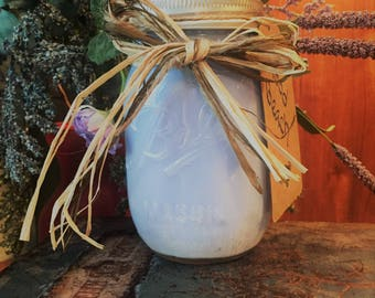 Wood Beach Scented Soy Candle in Mason Jar- Handmade- Natural Ingredients- Perfect Gift Idea- Home Decor