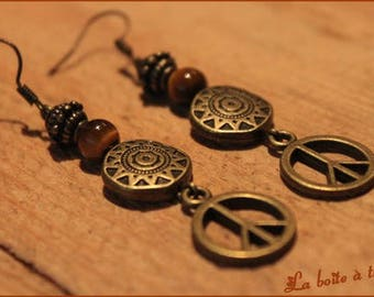 "Earrings ""PEACE"" and his Tiger eye"