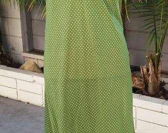 Vintage 1960's green with white polka dots nightgown / dress M/L