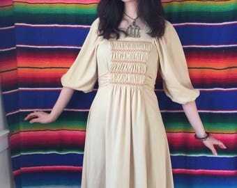 70s Peasant Princess Folk Smocked Dress with Poet Sleeves Size Small