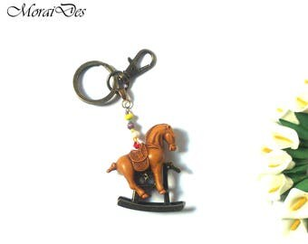 Keychain Horse on a Rocking Horse - With Beads - Pendant Horse - Pendant Animal - Keychain Animal - Trinket - Colorful Keychain