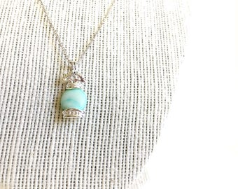 925 sterling silver necklace, baby blue stone, unique necklace