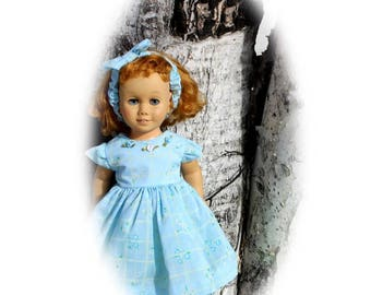 """Matching Dress & Bow Headband for 20"""" tall Talking Chatty Cathy sized Dolls. Toy doll clothes for vintage dolls."""