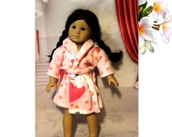 "American Girl doll not included.  Clothes only.  Super plush and warm Hearts & Kittens Fleece Robe for 18"" Dolls.  Handmade in the USA"
