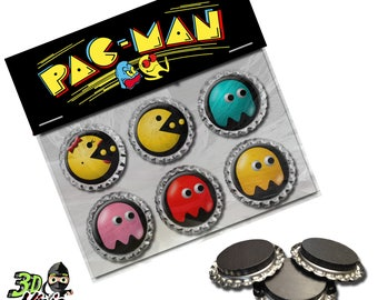 Pac Man Magnets | Bottle Cap Magnets | Party Favors | Gift