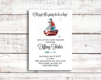 Nautical Baby Shower Invitation Boy Printable Anchor Baby Shower Invitations Navy Blue Baby Shower Invites Boy Baby Boy Shower Invitation