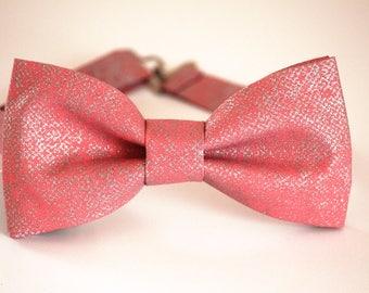 Coral and silver bow tie, men's bow tie, coral boy's bow tie, wedding bow tie, silver bow tie, groomsmen bow tie, ringboy bow tie