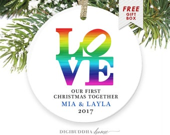 LOVE Personalized Couples Christmas Ornament for Boyfriend Girlfriend or Gay Couple Gay Pride Gay Girlfriend Gift Lesbian Couple Gay Men