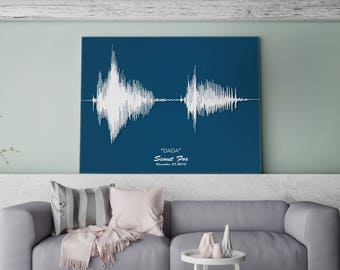 Soundwave Art - Custom-made Canvas Using Your Own Audio - Baby's First Words, Wedding Vows, 'I Love You'.