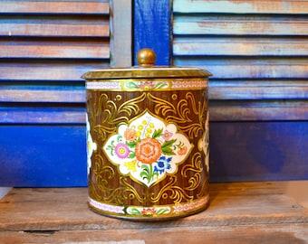Vintage Boho Floral Decorative Tin Canister Gypsy Style