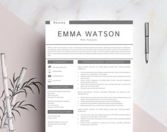 Resume Template Instant Download, Professional Resume Template, Resume Template for Word and Pages,  Resume with cover letter - Emma