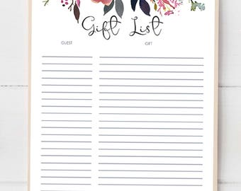 Gift List Printable Gift and Guest List Baby Shower Boho Wedding Gift Log Floral Bridal Shower Gift Tracker Instant Download Printables LF1