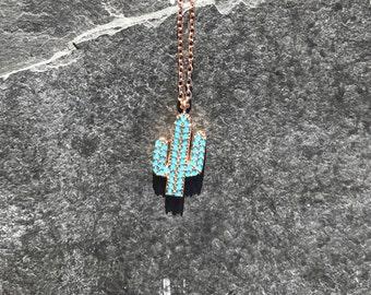 Cactus Necklace, Desert Necklace, Charm Necklace, Turquoise Necklace, Gold Necklace, Pendant Necklace, Turquoise Rhinestone Necklace